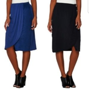 NWT Blue Sueded Draped Pull On Skirt